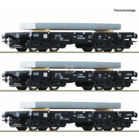 Roco 67194 - 3 piece set: Heavy duty flat wagon NS