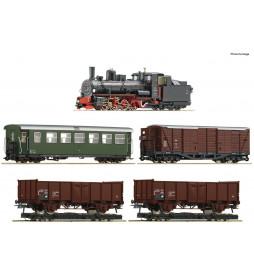 Roco 31032 - Zestaw 5 elementów H0e: Parowóz 399.06 z pociągiem mieszanym