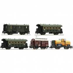 "Fleischmann 809003 - 5 piece wagon set ""Goods train with passenger transportation (GmP)"""
