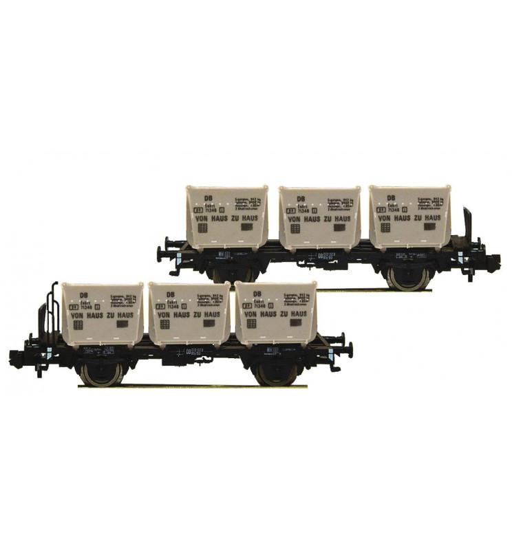 """Fleischmann 823303 - 2 piece set container carrier wagons """"Von Haus zu Haus"""" DB"""