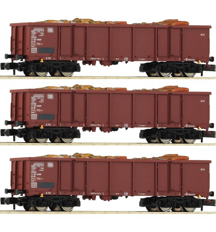 Fleischmann 828345 - 3 piece set goods wagons type Eaos DB