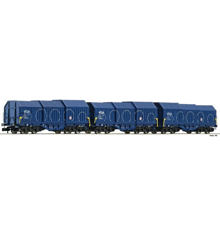 Fleischmann 838825 - 3 piece set telescopic hood wagons type Shimmns NS