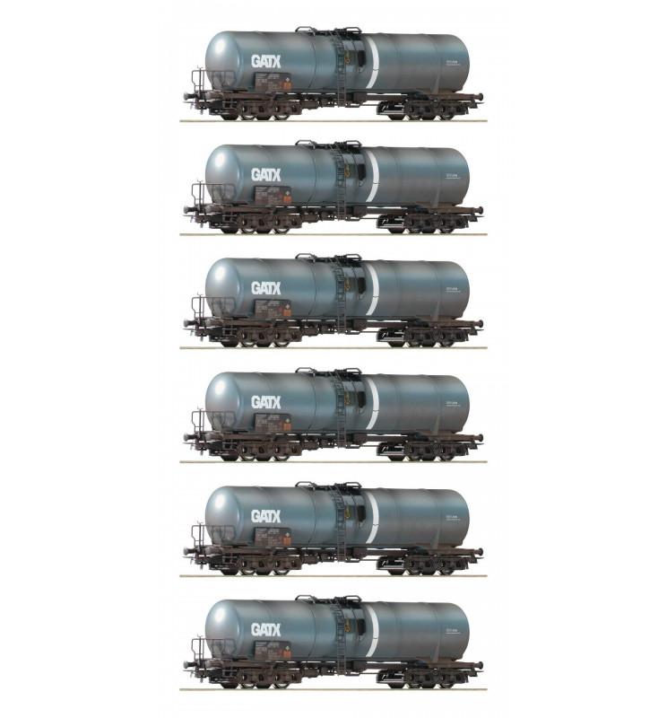 Roco 75972 - Zestaw 6 cystern GATX fabrycznie patynowanych