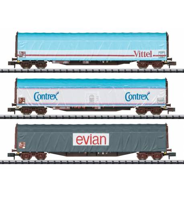 Trix 15375 - Mineral Water Transport Sliding Tarp Car Set