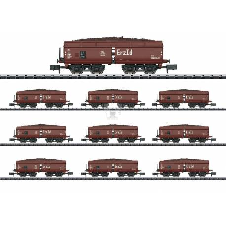 Trix 15449 - Display with 10 Type Erz Id Hopper Cars