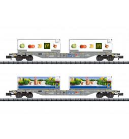 Trix 15488 - Foodstuffs Refrigerated Transport Container Transport Car Set