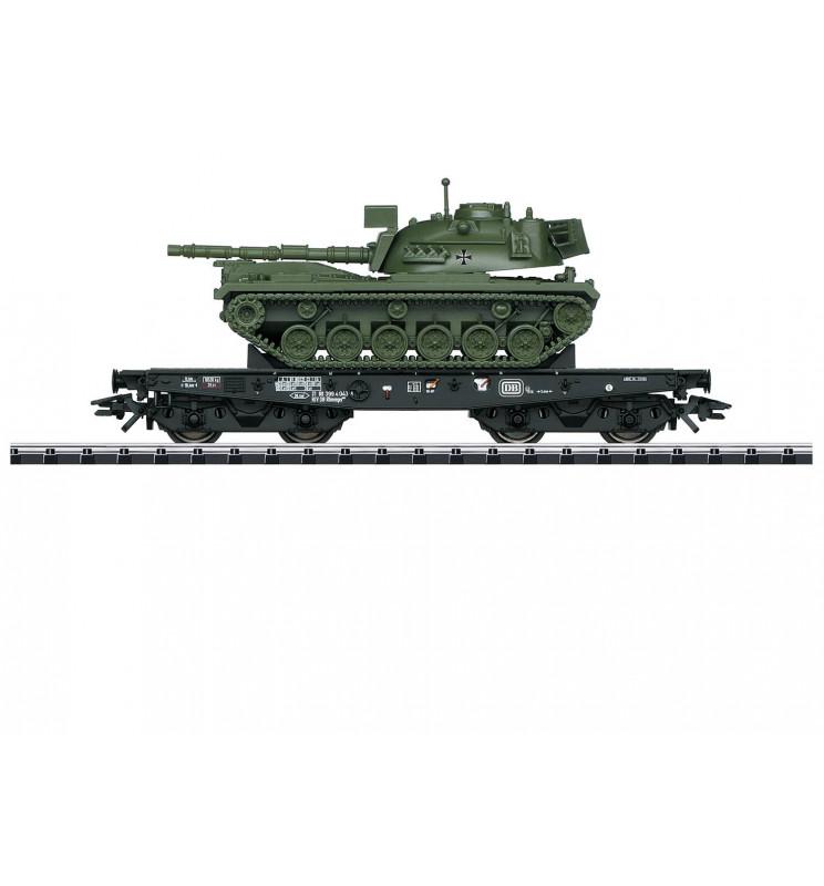 Trix 24214 - Wagon platforma podczołgowa Rlmmps z czołgirm M48 Bundeswera