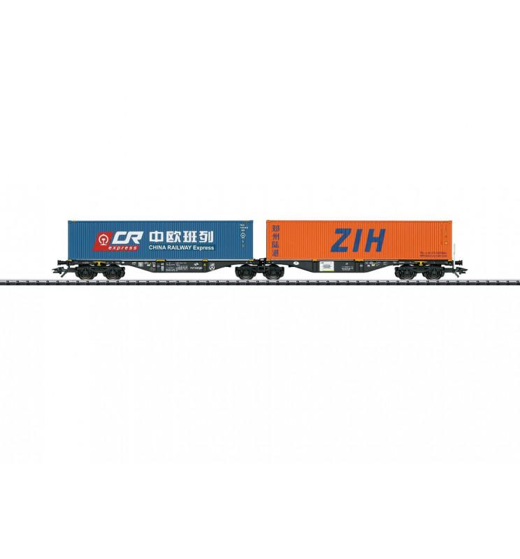 Trix 24802 - Podwójna platforma kontenerowa Sggrss PKP Cargo z ładunkiem kontenerów