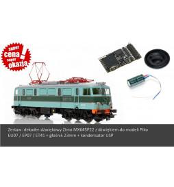 Zestaw: Dekoder dźwięku do EU06 EU07 EP07 EP08 ET41 Piko (Zimo MX645P22) + Głośnik MS23-8-05 + Kondensator USP