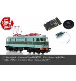 Zestaw: Dekoder dźwięku do EU07 Piko (Zimo MX645P22) + Głośnik MS23-8-05 + Kondensator USP