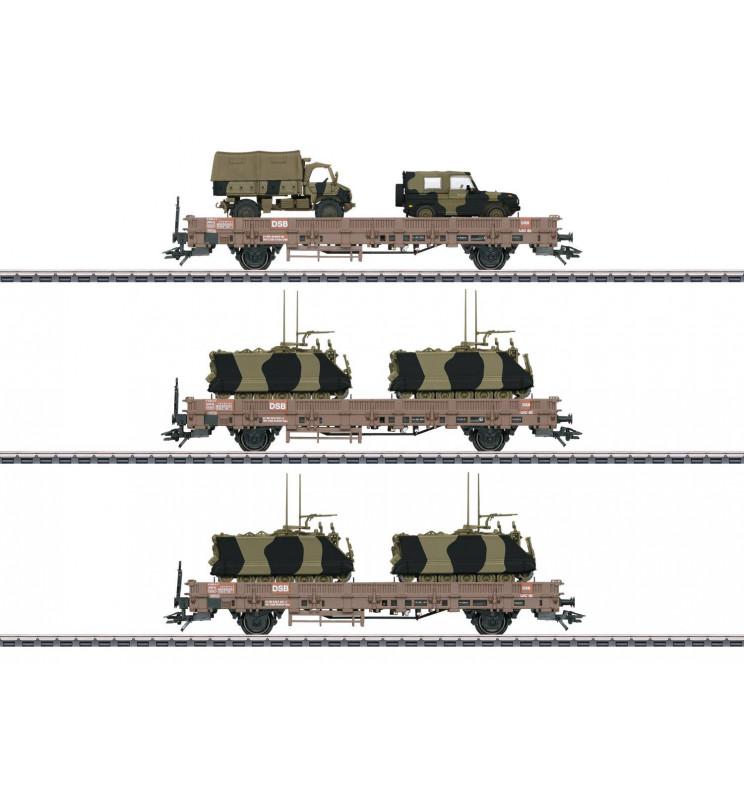 Marklin 046934 - Military Transport Low Side Car Set
