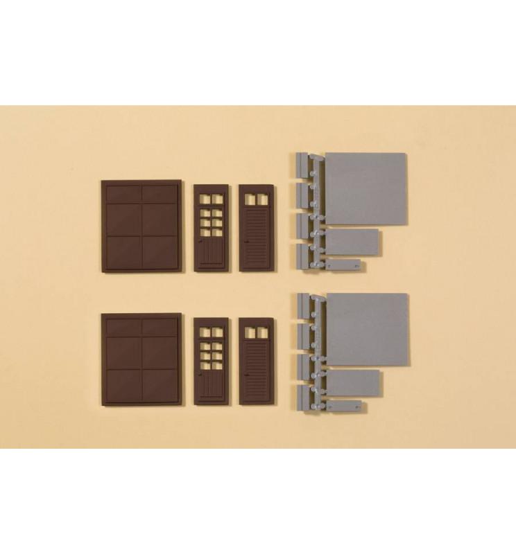 Auhagen 80257 - Bramy i drzwi brązowe, stopnie, rampy