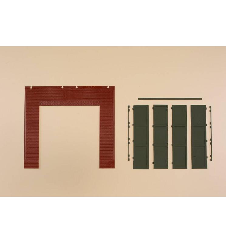 Auhagen 80533 - Ściany 2579A czerwone, bramy T zielone