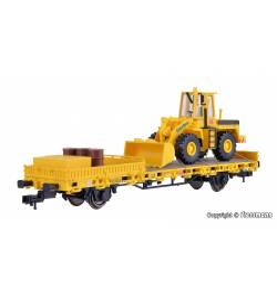 Kibri 26274 - H0 Wagon platforma z ładowarką kołową GleisBau oraz ładunkiem
