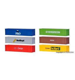 Kibri 10922 - H0 40 ft container, 6 pieces