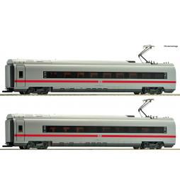 Roco 72043 - Zestaw 2 dodatkowych wagonów pociągu dużych prędkości ICE3 DBAG, DCC z oświetleniem wagonów