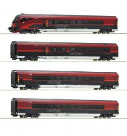 Roco 64189 - Zestaw wagonów Railjet ÖBB (4 elementy), DCC z dekoderem oświetlenia