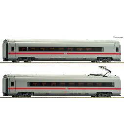 Roco 72045 - Zestaw 2 dodatkowych wagonów pociągu dużych prędkości ICE3 DBAG, DCC z oświetleniem wagonów