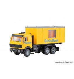 Kibri 16310 - H0 Ciężarówka MB Actros z kontenerem biurowym GleisBau
