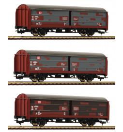 Fleischmann 533709 - Zestaw 3 wagonów krytych Hbis299, DB AG, fabrycznie patynowany