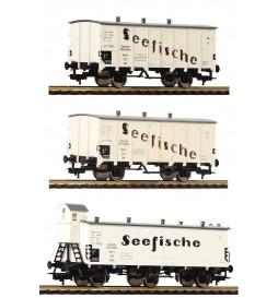 """Fleischmann 538101 - 3-tlg. Güterwagenset """"Seefische"""", DRG"""