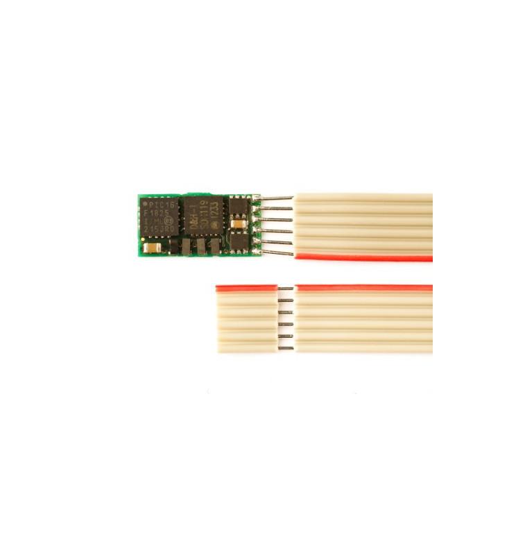 Miniaturowy dekoder DCC jazdy i oświeltenia D&H DH05-1 NEM651 6-pin (taśma)