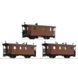 Roco 34043 - Zestaw 3 wagonów pasażerskich H0e, Ep. I