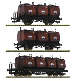 Fleischmann 526505 - Zestaw 3 wagonów do węgla, Dolnośląski Syndykat Węglowy Walbrzych, ep.II(część 1)