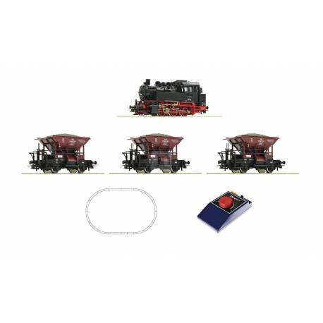 Roco 51159 - Analogue Start Set: Steam locomotive class 80 with wagon train