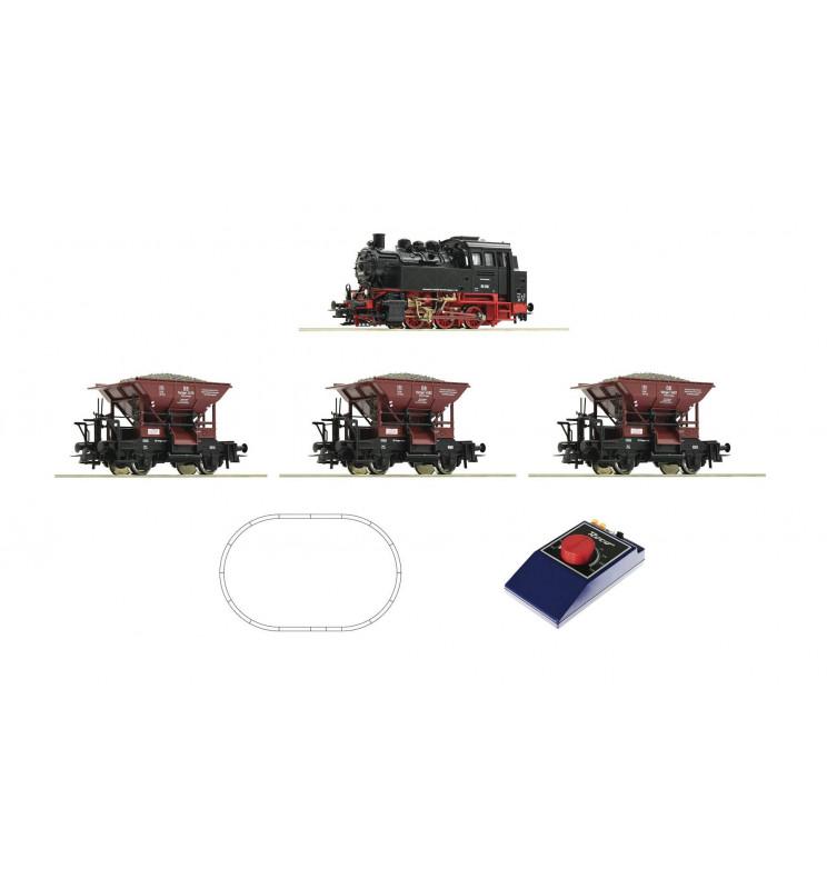 Roco 51159 - Zestaw startowy analogowy: Parowóz BR80 z wagonami towarowymi