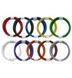 Cienki i elastyczny przewód jednożyłowy do dekoderów i modeli, ø0,5mm, AWG36, 2A, 10 kolorów NMRA / 10 x 1m (ESU 5194x)