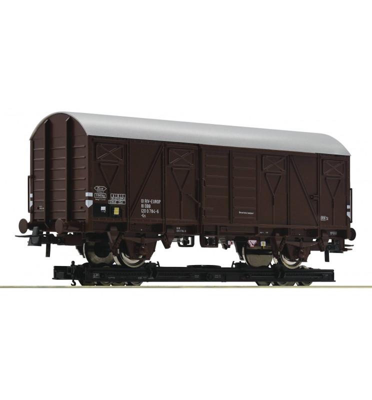 Roco 34575 - Wagon towarowy kryty ÖBB na platformie wąskotorowej