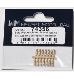 Weinert 74005 - Złączki szynowe z imitacją przytwierdzenia szyny, mosiężne, MeinGleis Code 75, 16 szt.