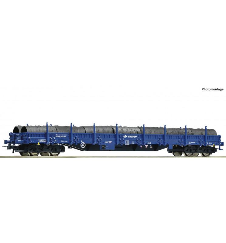 Roco 76590 - Wagon platforma czteroosiowa Res, PKP Cargo, ep. VI, z ładunkiem stalowych szpul