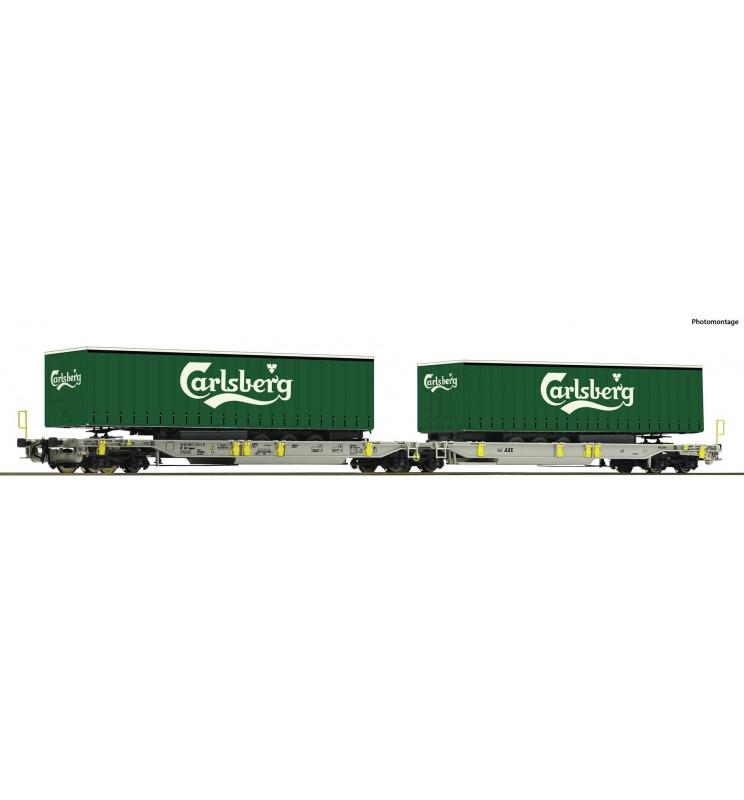 Roco 76432 - Wagon kieszeniowy podwójny AAE z naczepami Carlsberg