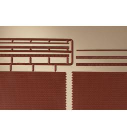 Auhagen 44630 - Mur z cegły z elementami fryzu ząbkowanego / 4 szt. skala N