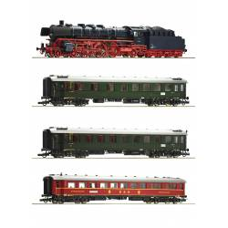 Roco 61474 - 4 piece set: Steam locomotive class 03.10 and fast train DB