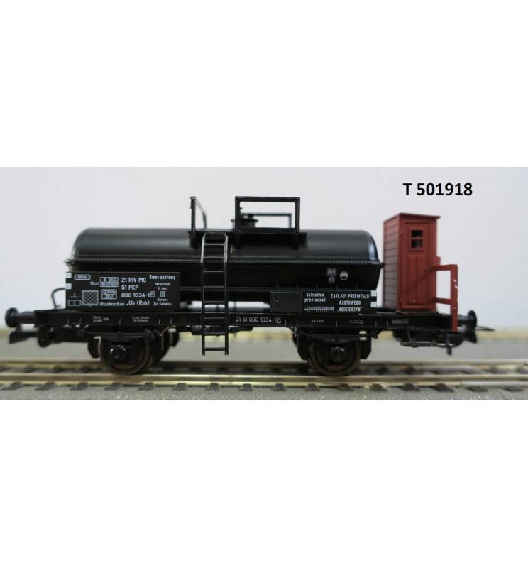Tillig 501918 - 2-osiowy wagon cysterna do kwasów .Uh (Rnh) z budką hamulcową, PKP ep. III
