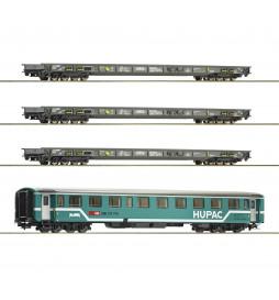"""Roco 76343 - Zestaw 4 wagonów do transportu cieżarówek """"Rollende Landstraße"""" Hupac"""