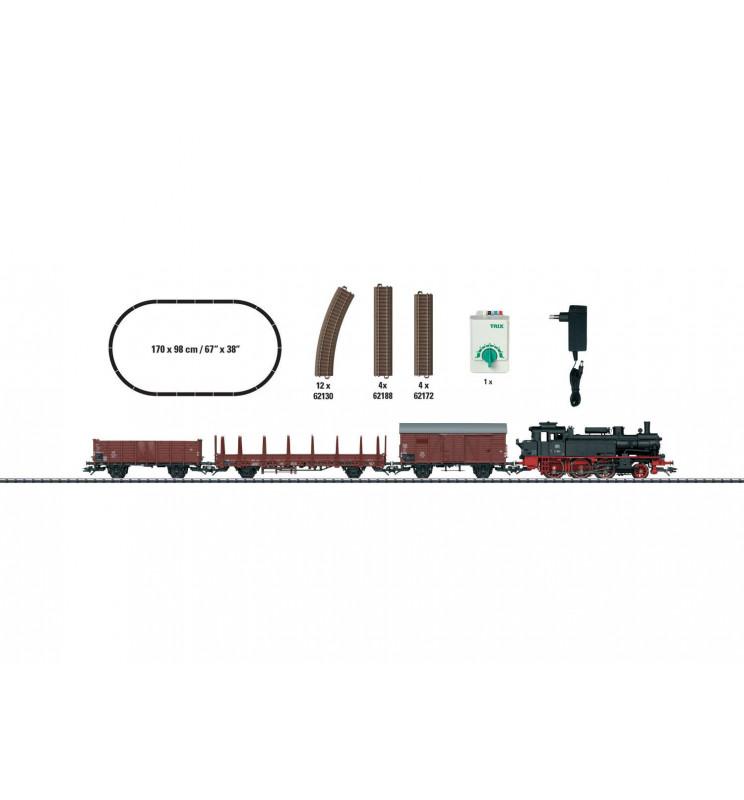 Trix 21530 - Zestaw startowy analogowy, pociąg towarowy z parowozem BR74