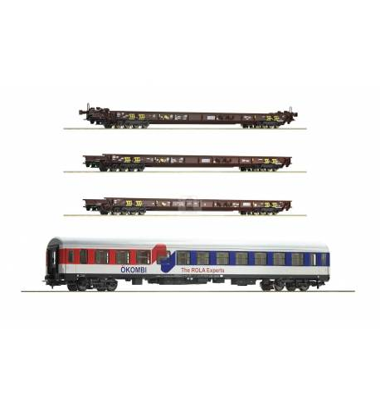 """Roco 76346 - Zestaw pociągu do przewozu ciężarówek """"Rollende Landstrasse"""" ÖBB (3 platformy+wagon sypialny)"""
