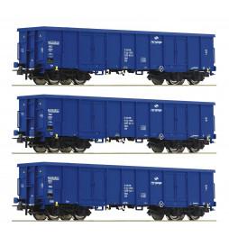 Roco 76128 - Zestaw 3 węglarek Eaos, PKP Cargo