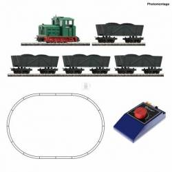 Roco 31034 - Analogue start set: Light railway diesel locomotive with tipper wagon train