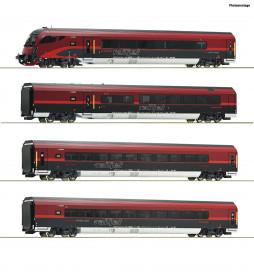 Roco 74084 - Zestaw 4 wagonów Railjet z dekoderem funkcyjnym