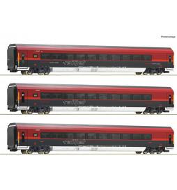 Roco 74087 - Zestaw 3 wagonów Railjet OBBz dekoderem funkcyjnym