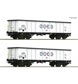 Roco 76731 - Zestaw 2 wagonów węglarek typ Eaos , Ecco Rail