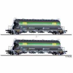 Tillig TT 01002 - Freight car set of the Ermewa / Captrain / AGRO with two silo cars, Ep. VI