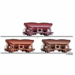 Tillig TT 01017 - Freight car set of the DR with three hopper cars Fcs 6450, Ep. IV