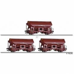 Tillig TT 01019 - Freight car set of the DR with three swing roof cars Tds-y 5735, wheathered, Ep. IV