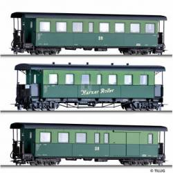 "Tillig H0 01174 - Passener coach set ""Harzer Roller"" with two passenger coaches and one baggage car, Ep. IV -H0m-"